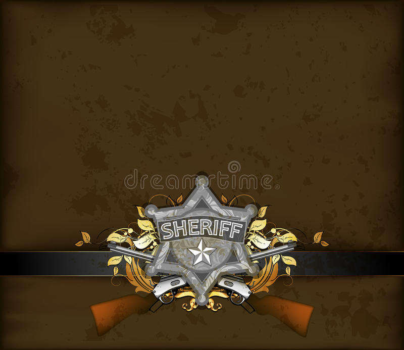 Overladen kader met sheriffster stock illustratie