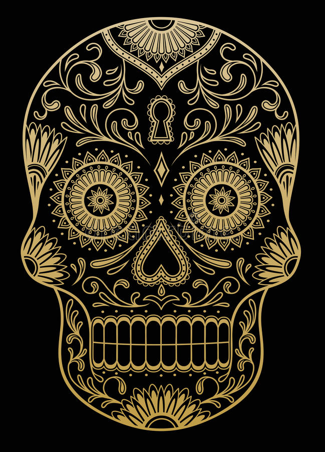 Overladen Kleur Sugar Skull stock illustratie