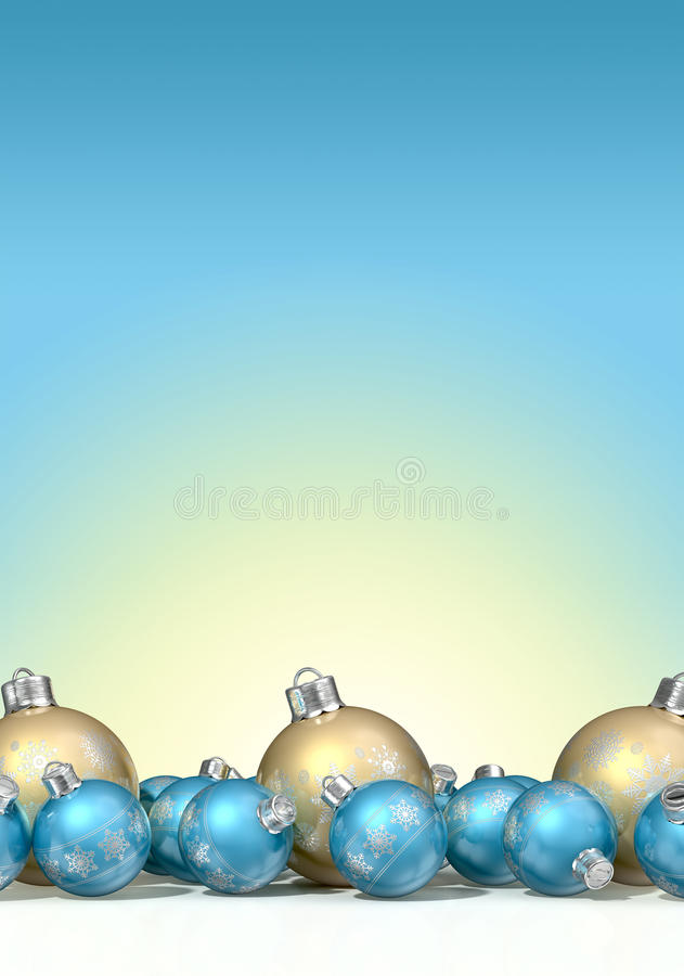 Overladen Matte Gold And Blue Christmas-Snuisterijen vector illustratie
