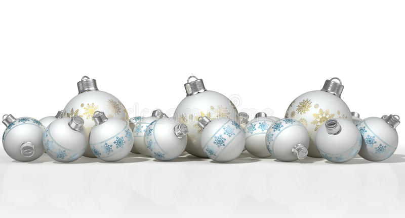 Overladen Matte White Christmas Baubles royalty-vrije illustratie