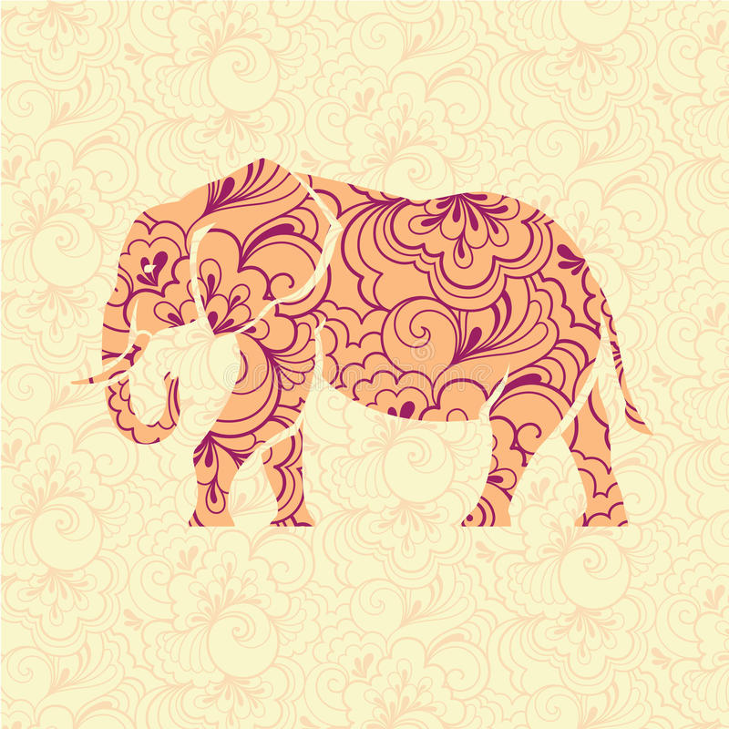 Overladen olifant stock illustratie