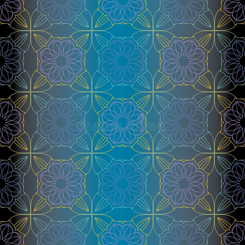 OVERLADEN PATROON MET MANDALA-ELEMENTEN vector illustratie