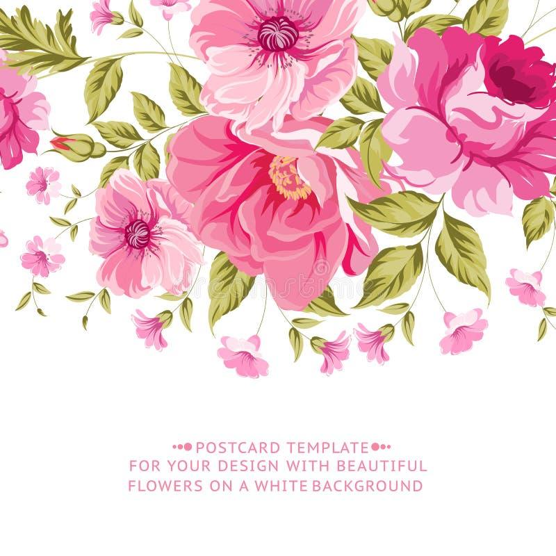 Overladen roze bloemdecoratie met tekstetiket stock illustratie