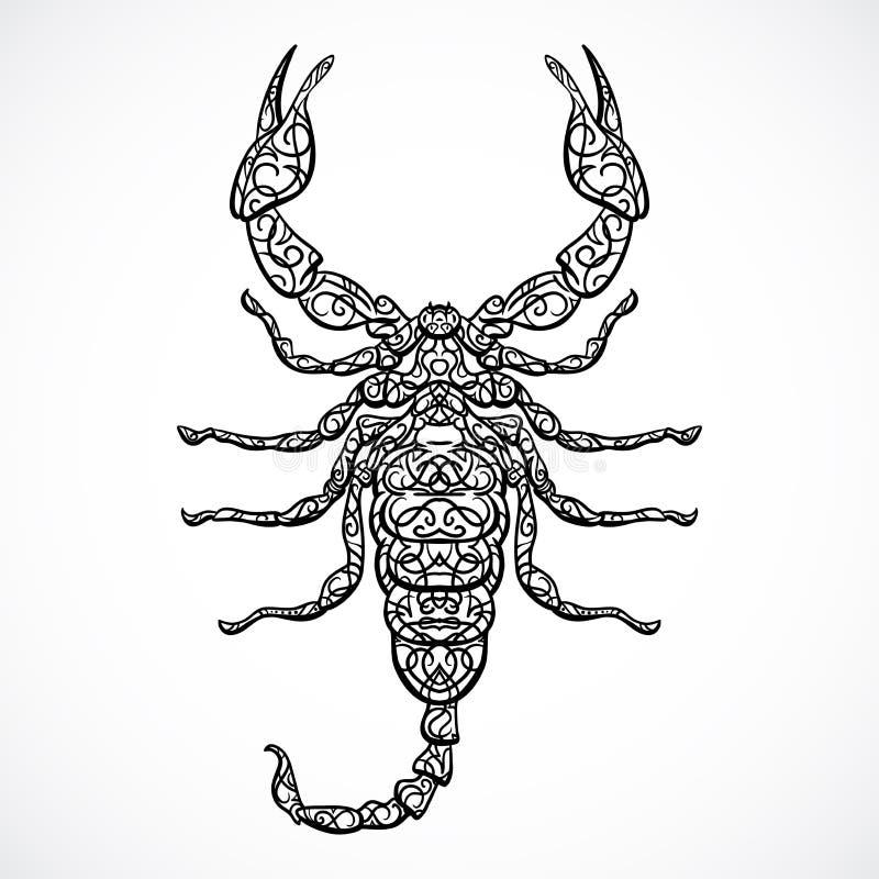 Overladen Schorpioen Uitstekend zwart-wit Dierenriemteken Vectorhand getrokken vector vector illustratie