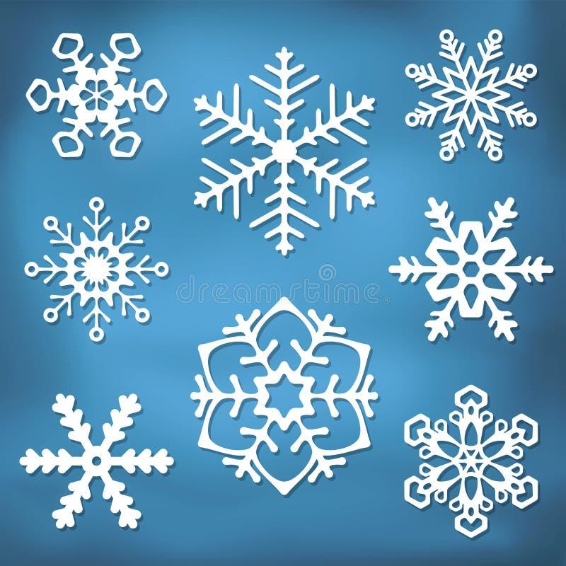 Overladen Sneeuwvloksilhouetten stock illustratie