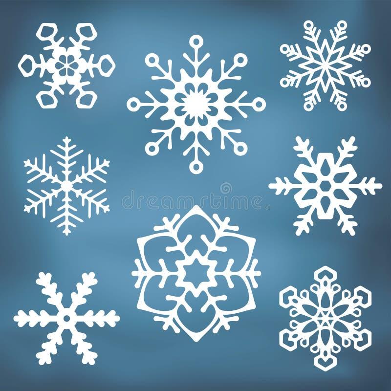 Overladen Sneeuwvloksilhouetten vector illustratie