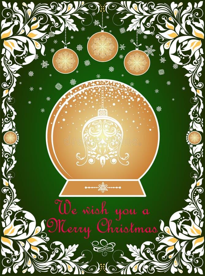 Overladen uitstekende Kerstmis die groene kaart met bloemendocument begroeten verwijderde grens, sneeuwvlokken, hangende ballen e vector illustratie