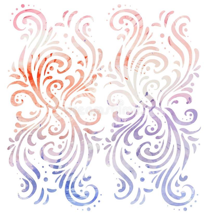 Overladen uitstekende tracery met waterverfachtergrond royalty-vrije illustratie