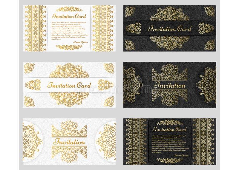 Overladen uitstekende uitnodigingskaarten met de kaders en de grenzen van de lijnkunst vector illustratie