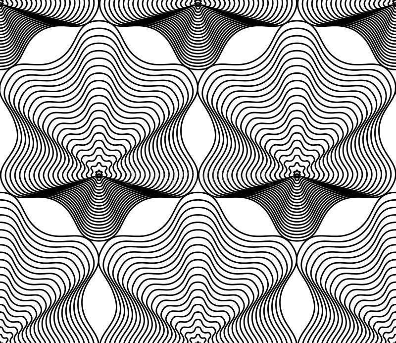Overladen vector zwart-wit abstracte achtergrond met zwarte lijnen S royalty-vrije illustratie
