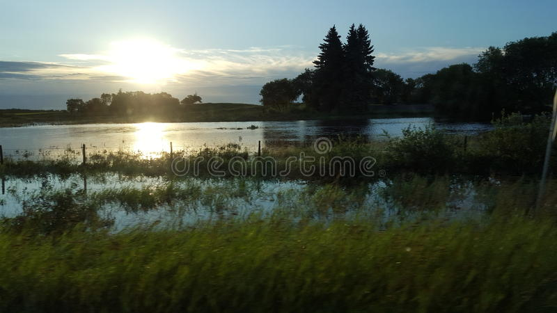 Overland översvämning royaltyfria foton