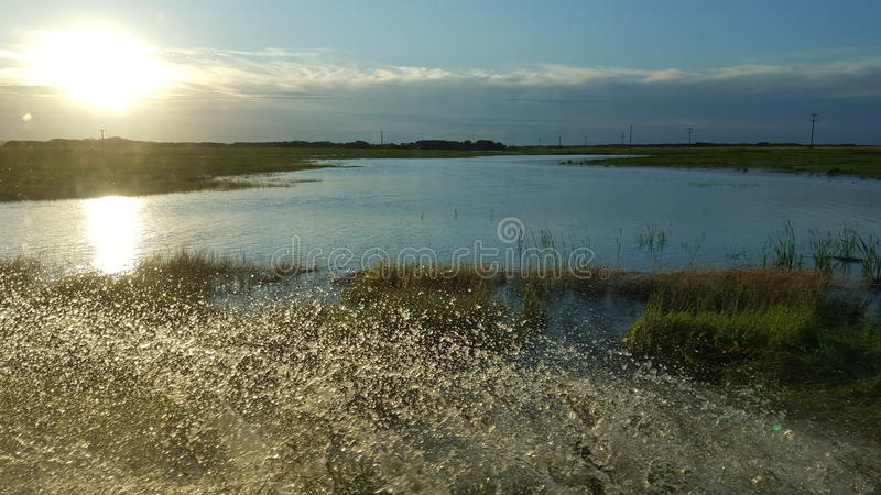 Overland flooding. In manitoba stock images