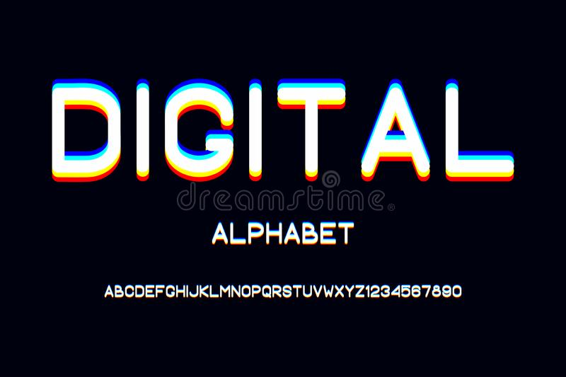 Overlap glitch font. Rounded color alphabet with overlay effect. Vector. stock illustration