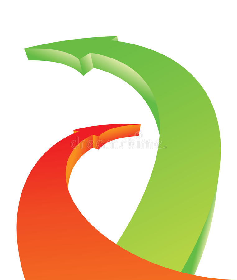 Overlapped bending arrows. Overlapped bending 3d arrows. Abstract illustration vector illustration