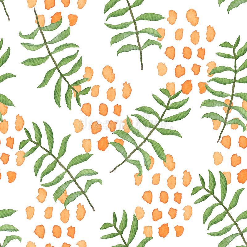 Overlapped green leaves and orange blobs pattern. Overlapped watercolor seamless pattern with mess of green leaves and orange blobs on white background. Bright vector illustration