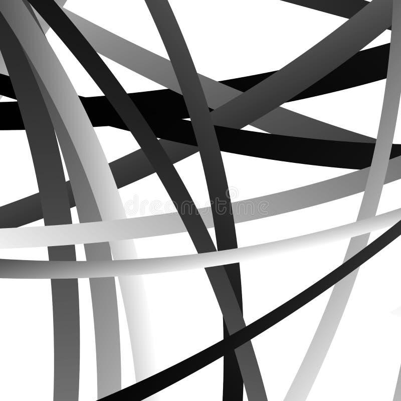 Overlappend willekeurig gebogen lijnen/vormen grayscale geometrisch klopje royalty-vrije illustratie