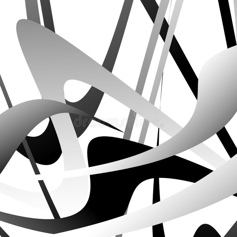 Overlappend willekeurig gebogen lijnen/vormen grayscale geometrisch klopje vector illustratie
