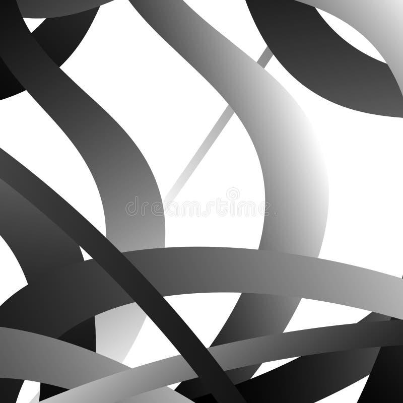 Overlappend willekeurig gebogen lijnen/vormen grayscale geometrisch klopje stock illustratie