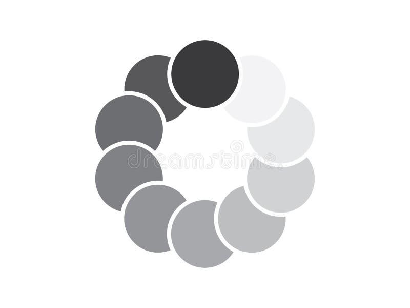 Overlappende cirkels in schaduwen van grijs royalty-vrije illustratie