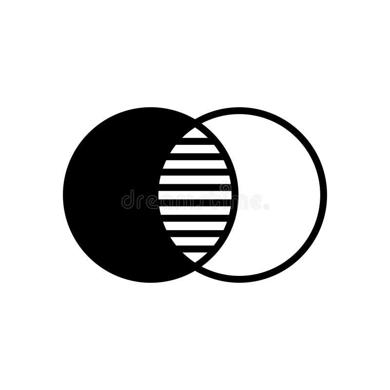 Overlapping, bekleding, opaciteitpictogram Zwart kleurenteken vector illustratie