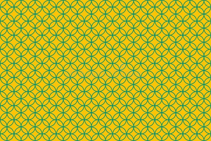 Overlapping circle illustration patterns on yellow background royalty free illustration
