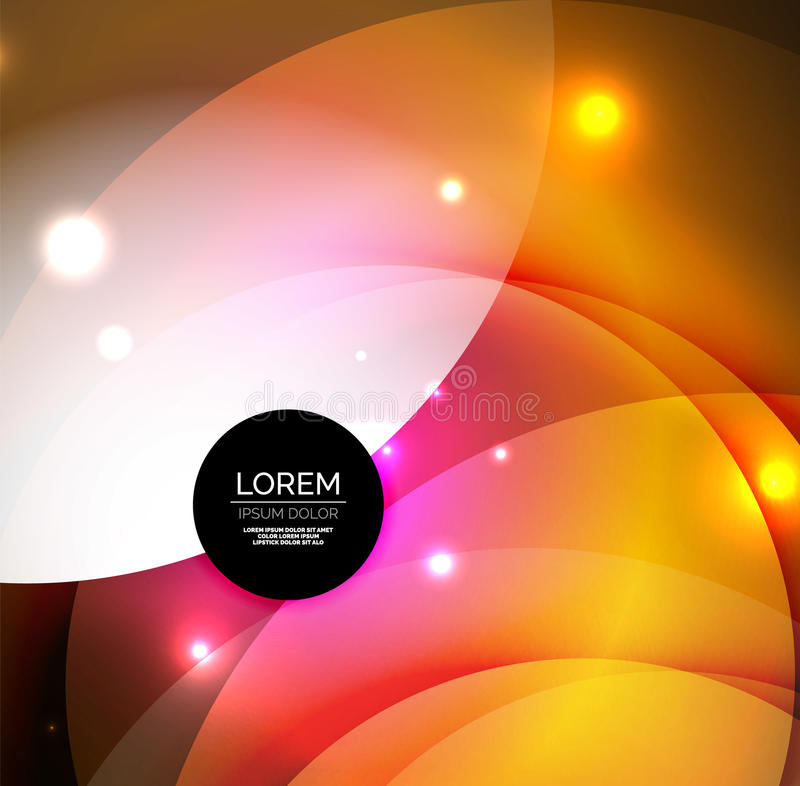 Overlapping circles on glowing abstract background stock illustration