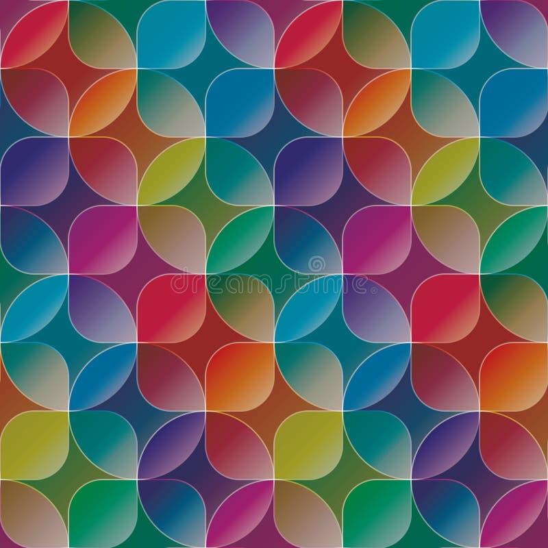 Overlapping en transparante cirkels en vierkanten Kleurrijke naadloze B stock illustratie