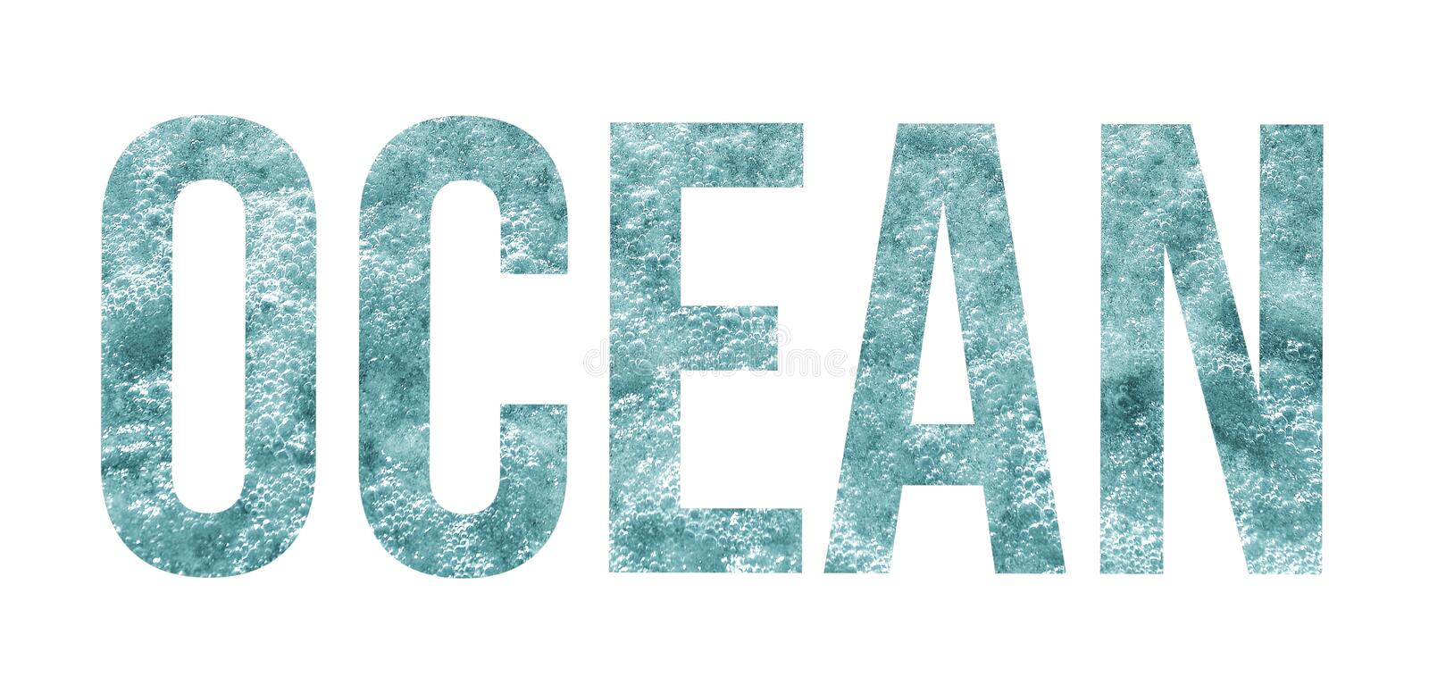 Overlay of the word ocean on background of turquoise sea water with waves and air bubbles isolated on white background. Summer sea holidays concept. Ocean word stock photo