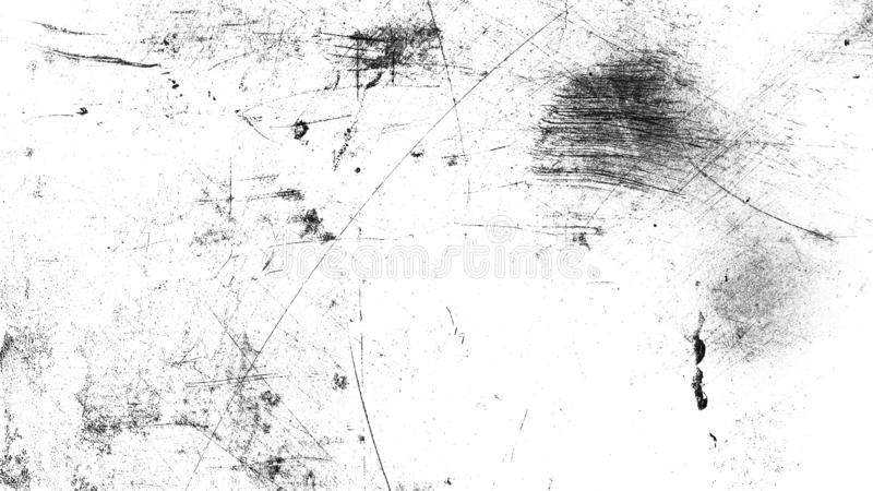 Vintage old dust scratched grunge texture on isolated black backgroundWhite vintage dust scratched background, distressed old text royalty free stock image