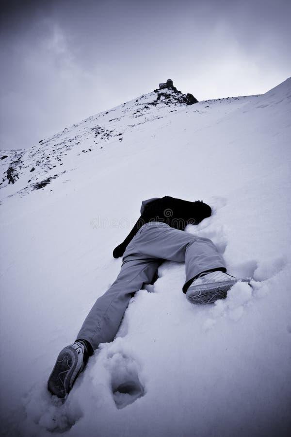 Overledene bij de sneeuw stock fotografie