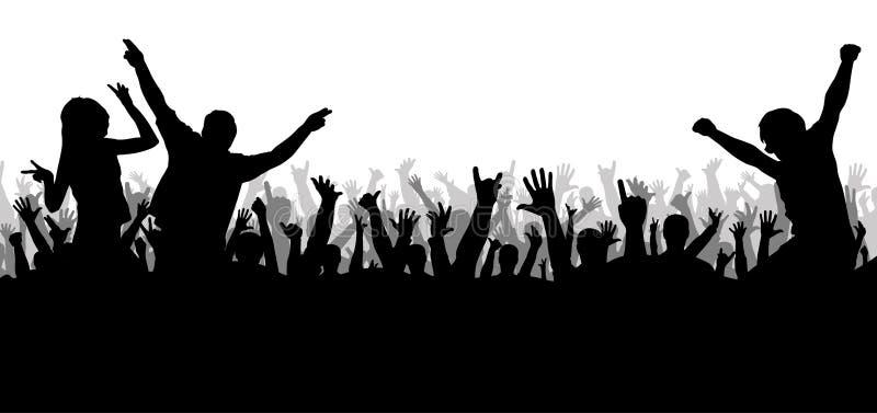 Overlegdisco, dansend menigtesilhouet stock illustratie