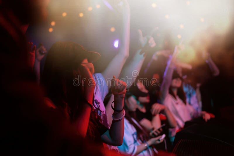 Overlegmenigte het partying aan de muziekprestaties op stadium royalty-vrije stock afbeeldingen