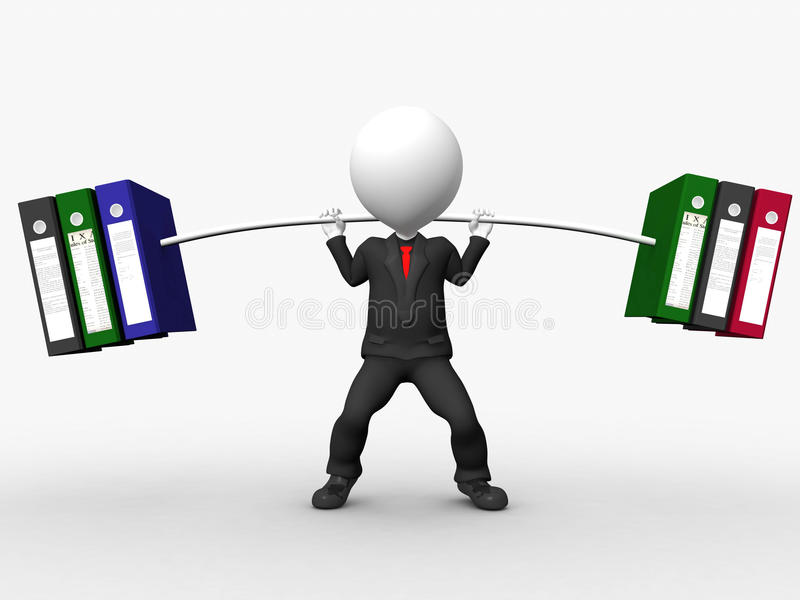 Download Overload 3D Businessman Lifting Weights Stock Illustration - Image: 25675802