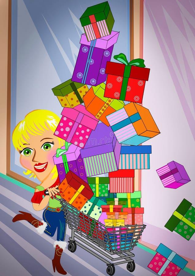 Overload Shopping royalty free illustration