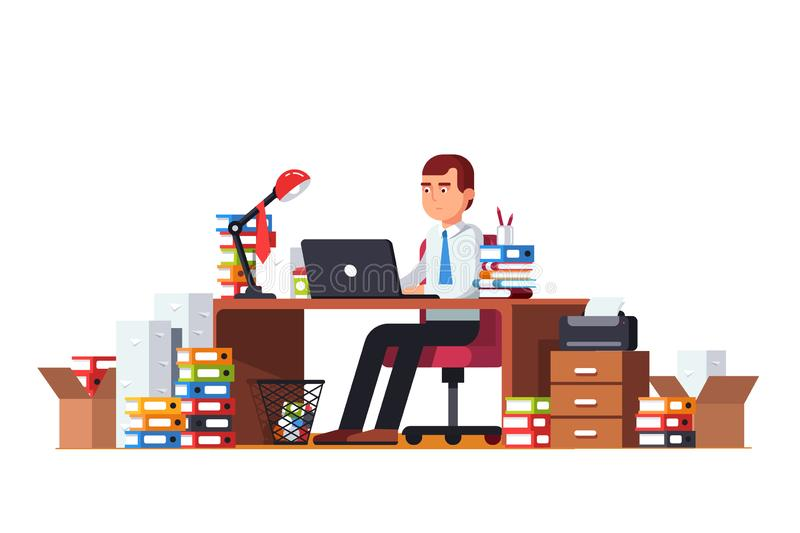 Overloaded business man doing office document paperwork sitting at cluttered desk working on laptop computer royalty free illustration