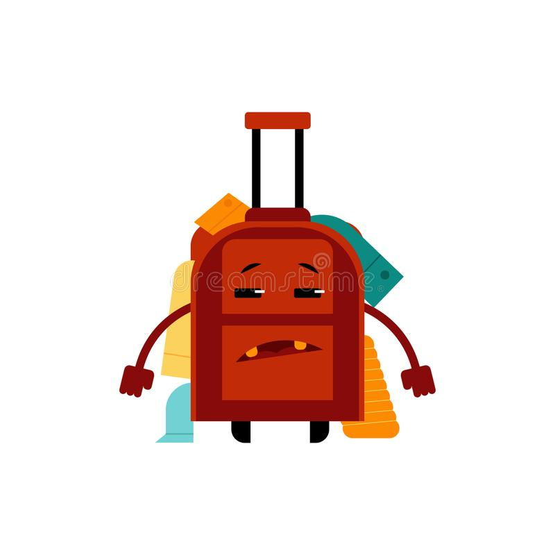 Overloaded with clothes frustrated suitcase cartoon character isolated on white background. vector illustration
