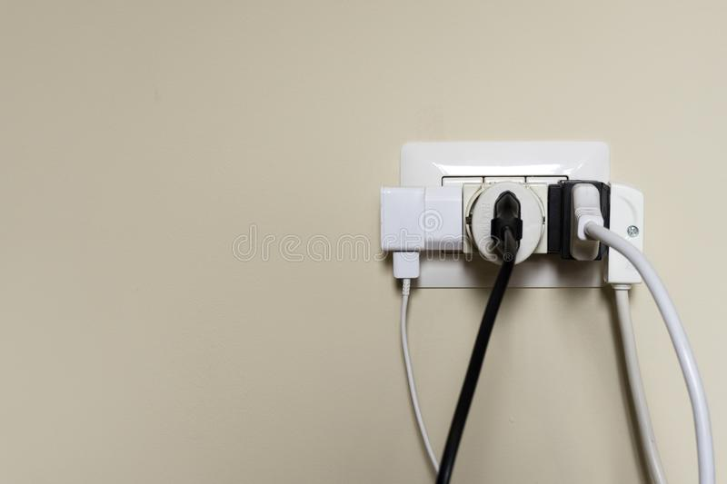 Overloaded electrical outlet royalty free stock images