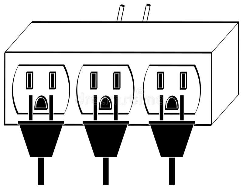 overloaded power sockets stock vector  image of black