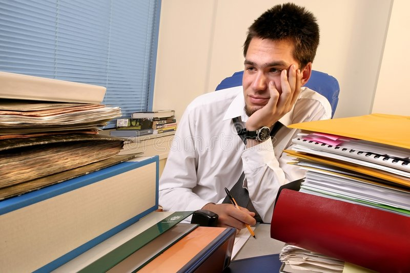 Download Overloaded worker stock photo. Image of books, overwhelmed - 1689512