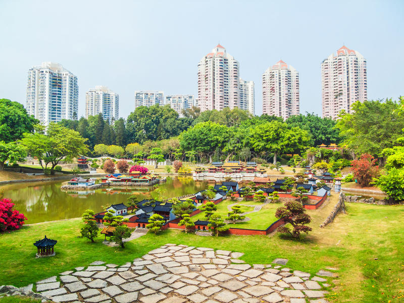 Overlook the architectural miniature landscape. This photo was taken in Splendid China scenic spot,Shenzhen city, china.It is architectural miniature landscape stock images