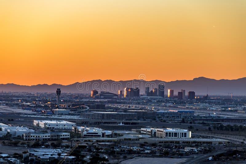 Phoenix Arizona City Overlook at sunset. An overlook from atop Mountain Butte of sunset over downtown Phoenix Arizona stock photography