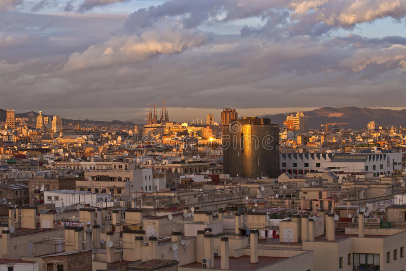 Overlooking Barcelona. Shot from hotel rooftop at dusk of Barcelona, Spain royalty free stock photos