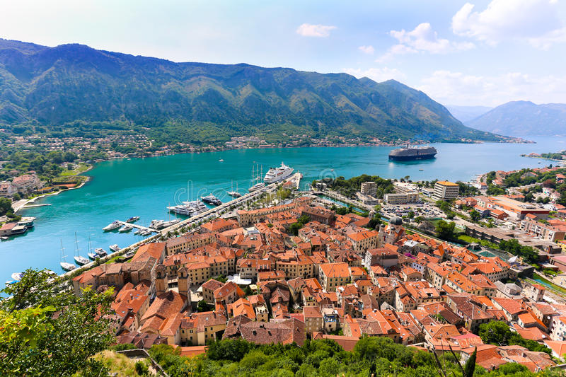 Overlooking the Bay of Kotor in Montenegro royalty free stock image