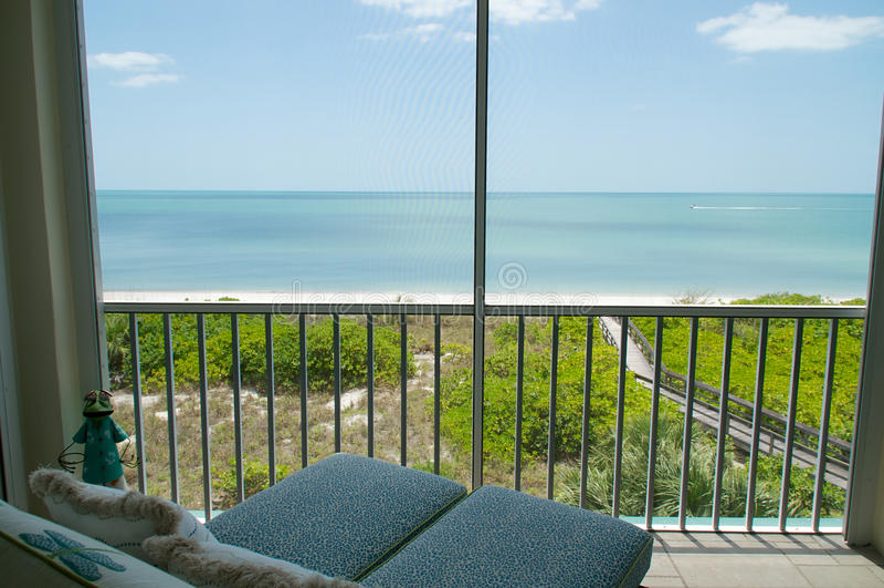 Overlooking Beach From Balcony Stock Photo