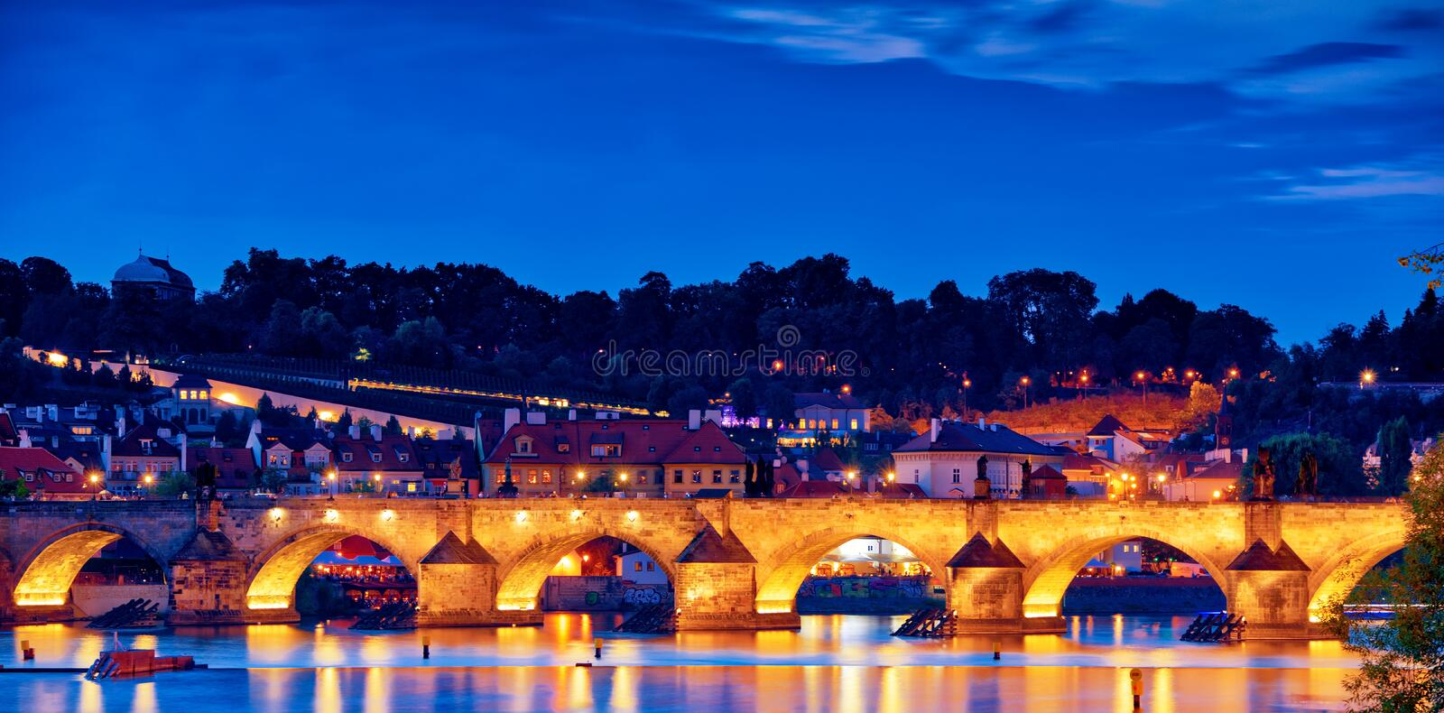 Night scene of Charles Bridge. Overlooking Charles Bridge in the night, Bohemia landmark in Prague, Czech stock images