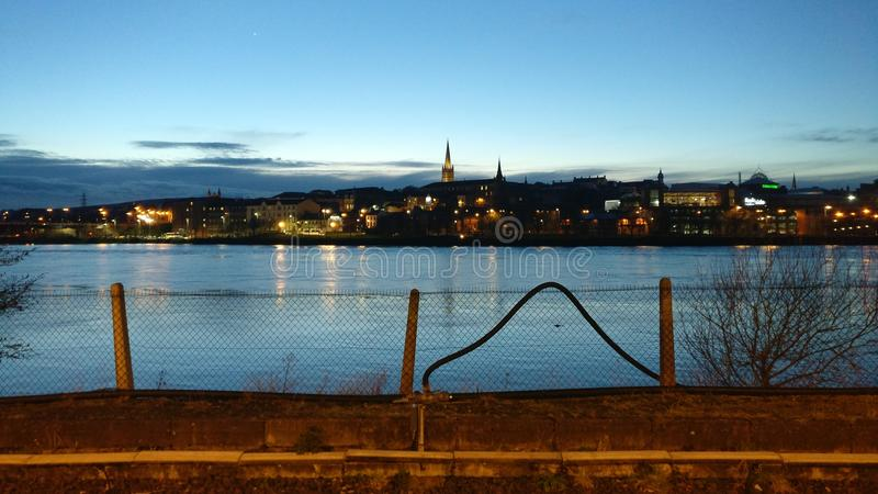 Overlooking the city of Londonderry in Northern Ireland. A view from a local train station in the heart of Londonderry royalty free stock images