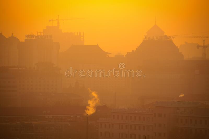 Overlooking the city in the morning. The city is bathed in gold and the skyline is vibrant royalty free stock photography