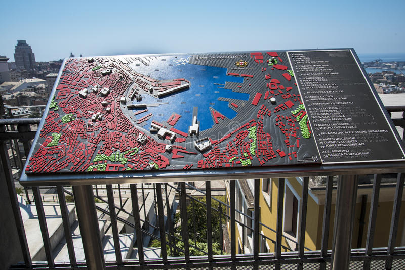 Overlooking the city with relief map in Genoa Italy royalty free stock photo