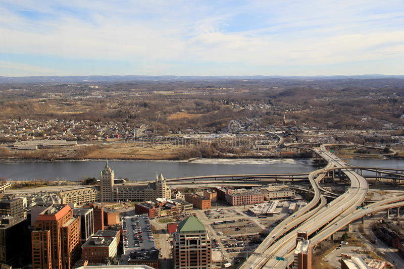 Overlooking the city from the 39th floor of Corning Tower,Albany,New York,2016 royalty free stock images
