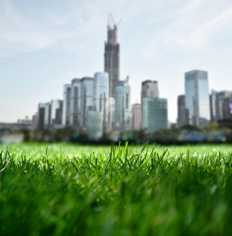 Overlooking the Future city. From grassland stock images